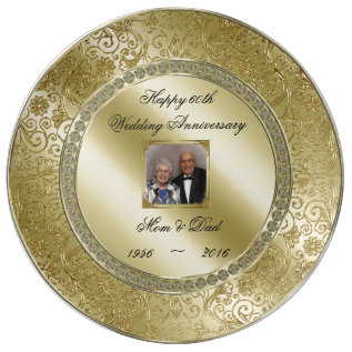 Elegant 50th Wedding Anniversary Photo Plate at Zazzle