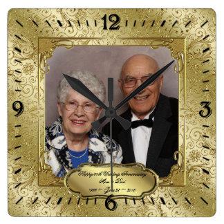Elegant 50th Wedding Anniversary Photo Wall Clock