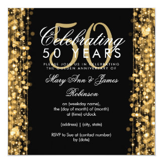 Elegant 50th Wedding Anniversary Sparkles Gold Invitation