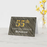 [ Thumbnail: Elegant 55th Birthday: Faux Wood, Faux Gold Look Card ]