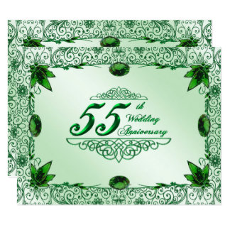 Elegant 55th Wedding Anniversary 4.25 x 5.5 Invite