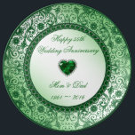 "Elegant 55th Wedding Anniversary Porcelain Plate<br><div class=""desc"">A Digitalbcon Images Design featuring an emerald green color and flourish design theme with a variety of custom images, shapes, patterns, styles and fonts in this one-of-a-kind &quot;Elegant Emerald Wedding Anniversary&quot; Porcelain Plate. This elegant and attractive design comes complete with customizable text lettering to suit your own special occasion. COMPLETE...</div>"