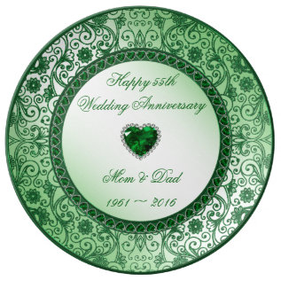 Elegant 55th Wedding Anniversary Porcelain Plate at Zazzle