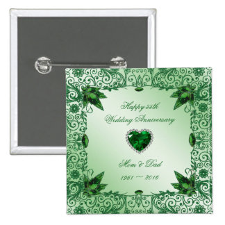 Elegant 55th Wedding Anniversary Square Button