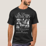 "Elegant 5 Photo In Loving Memory T-Shirt<br><div class=""desc"">Funeral photo black t-shirt featuring 5 pictures of your lost loved one,  the text ""in loving memory"",  their name,  birth/death dates,  a white heart,  and the remembrance saying ""gone but never forgotten"".</div>"