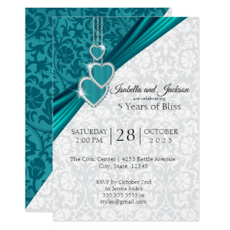 Elegant 5th Wedding Anniversary Design Invitation