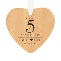 Elegant 5th Wood Wedding Anniversary Ornament