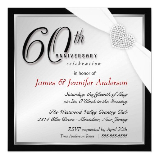 Elegant 60th Annniversary Party Invitations