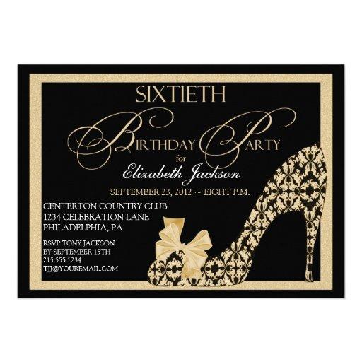 Elegant 60th Birthday Damask Shoe Invitation
