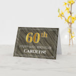 [ Thumbnail: Elegant 60th Birthday: Faux Wood, Faux Gold Look Card ]