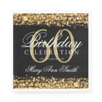Elegant 60th Birthday Gold Bokeh Sparkle Lights Napkin