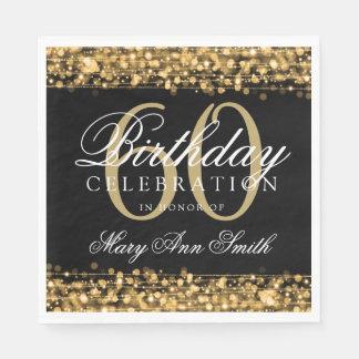 Elegant 60th Birthday Gold Bokeh Sparkle Lights Napkin
