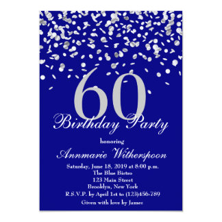 Elegant 60th Birthday Invitation Silver Confetti