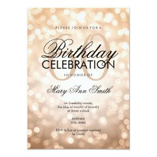 Elegant 60th Birthday Party Copper Glitter Lights Invitation