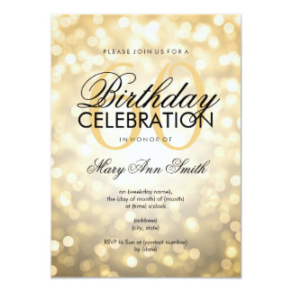 Elegant 60th Birthday Party Gold Glitter Lights Card
