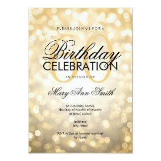 Elegant 60th Birthday Party Gold Glitter Lights Card