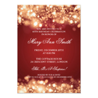 Elegant 60th Birthday Party Gold Sparkling Lights Card