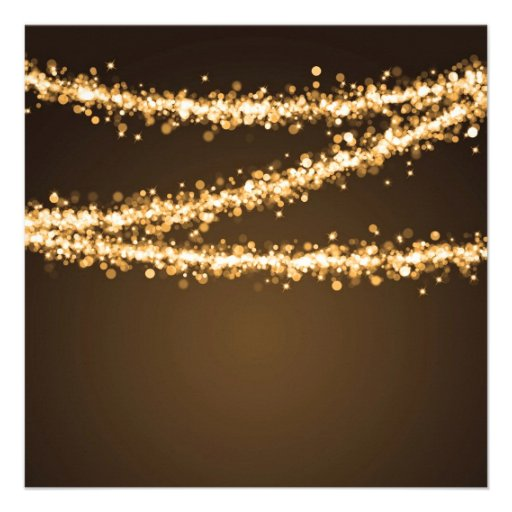 Elegant 60th Birthday Party Gold String Lights Personalized Announcement (back side)