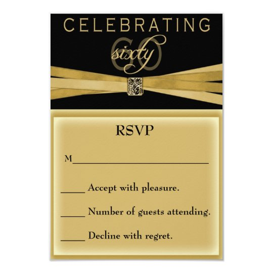 Elegant 60th birthday party invitations rsvp card zazzle for Rsvp card ideas