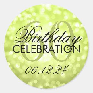 Elegant 60th Birthday Party Lime Glitter Lights Classic Round Sticker
