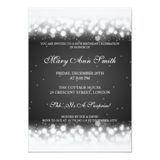 Elegant 60th Birthday Party Magic Sparkle Black Card