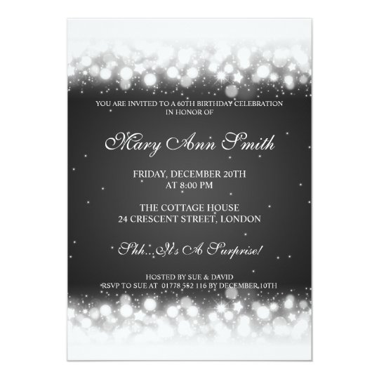 Elegant 60th Birthday Party Magic Sparkle Black Card