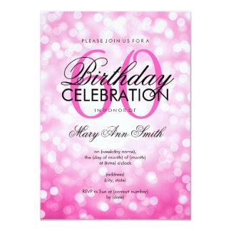 Elegant 60th Birthday Party Pink Glitter Lights Card