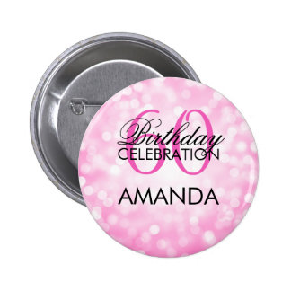 Elegant 60th Birthday Party Pink Glitter Lights Pinback Button