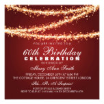 Elegant 60th Birthday Party Red String Lights Personalized Invitations
