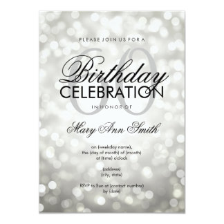 Elegant 60th Birthday Party Silver Glitter Lights Card