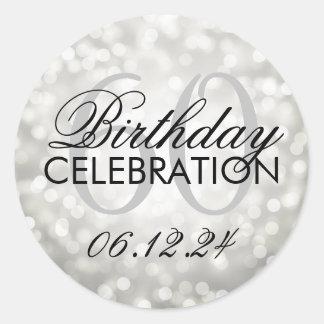 Elegant 60th Birthday Party Silver Glitter Lights Classic Round Sticker