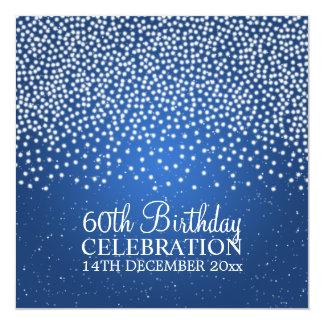 Elegant 60th Birthday Party Simple Sparkle Blue Card