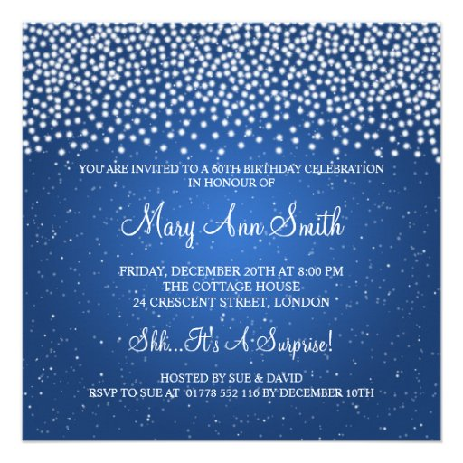 Elegant 60th Birthday Party Simple Sparkle Blue Personalized Invitation