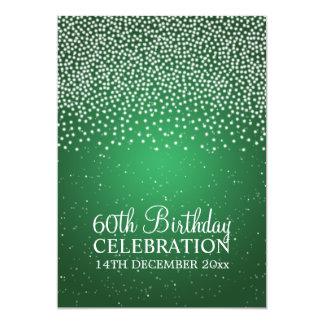 Elegant 60th Birthday Party Simple Sparkle Green Card