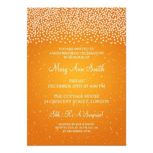 Elegant 60th Birthday Party Simple Sparkle Orange Custom Invites (back side)