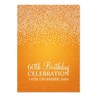 Elegant 60th Birthday Party Simple Sparkle Orange Custom Invites