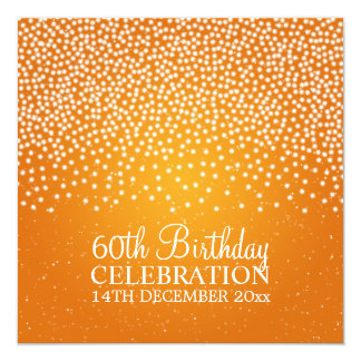 Elegant 60th Birthday Party Simple Sparkle Orange 5.25x5.25 Square Paper Invitation Card