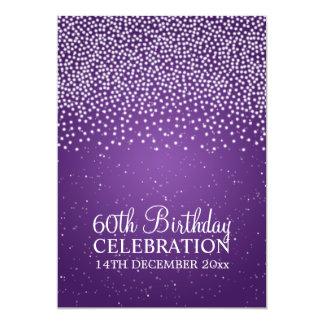 Elegant 60th Birthday Party Simple Sparkle Purple Card