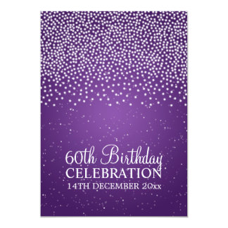 Elegant 60th Birthday Party Simple Sparkle Purple Personalized Invitations