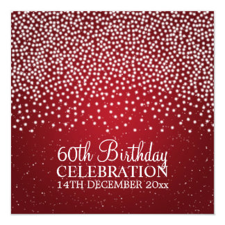 Elegant 60th Birthday Party Simple Sparkle Red Card