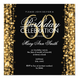 60th birthday party invitations announcements zazzle elegant 60th birthday party sparkles gold card filmwisefo Choice Image