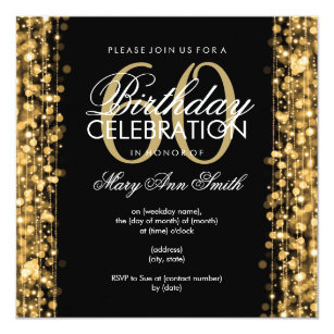 60th birthday invitations zazzle elegant 60th birthday party sparkles gold card filmwisefo Choice Image