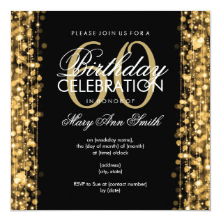 Elegant 60th Birthday Party Sparkles Gold Card at Zazzle