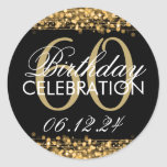 Elegant 60th Birthday Party Sparkles Gold Classic Round Sticker