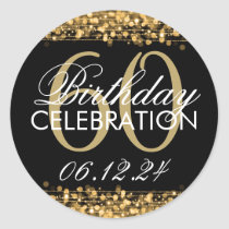 Elegant 60th Birthday Party Sparkles Gold Classic Round Sticker