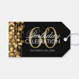 Elegant 60th Birthday Party Sparkles Gold Gift Tags