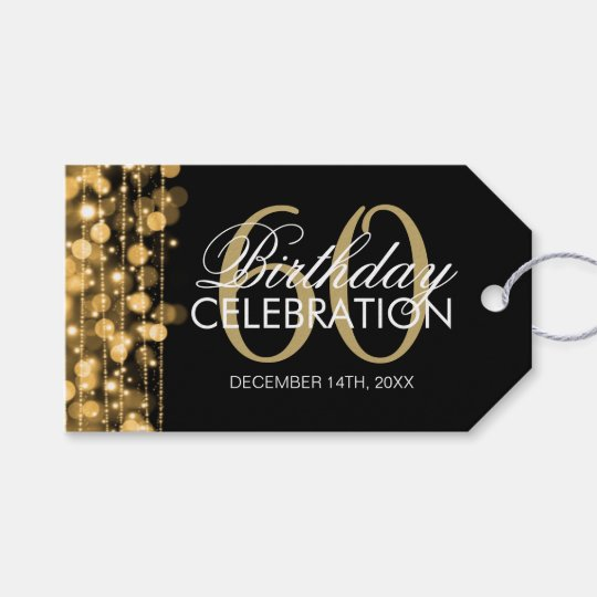 elegant 60th birthday party sparkles gold gift tags zazzle com