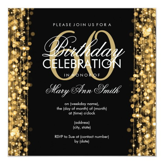 Elegant 60th Birthday Party Sparkles Gold Invitation Zazzlecom