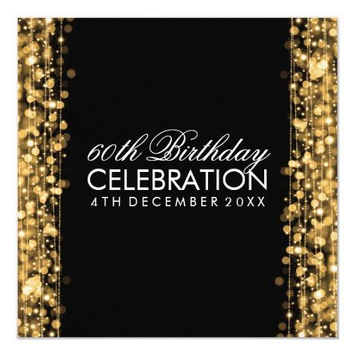 Elegant 60th Birthday Party Sparkles Gold Custom Invitation (back side)