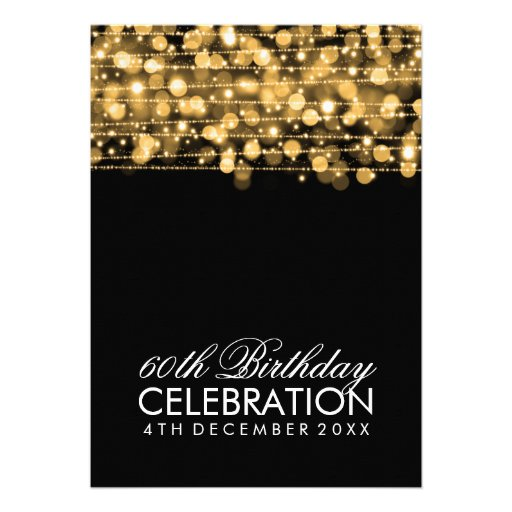 Elegant 60th Birthday Party Sparkles Gold Personalized Invitations (back side)